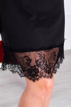 Платье с деталью в виде чокера и кружевом по низу П 072