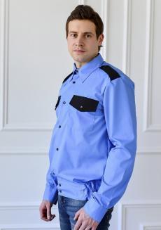 """Рубашка охранника """"Голубая"""" c поясом"""