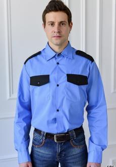 """Рубашка охранника  """"Голубая"""" длинный рукав"""