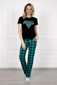Брюки женские 953 Шотландка зеленый