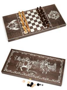 Нарды, шахматы, шашки «Рыцари» тонированные 3 в 1