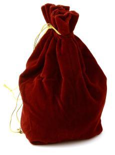 Домино 9 цветных точек в красном бархатном мешочке