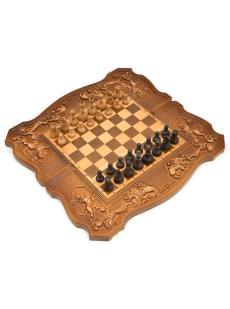 Нарды + шахматы + шашки «Купеческие» фигурки дворянские