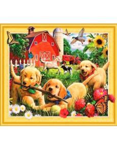 Алмазная мозаика на подрамнике «Щенки на ферме»