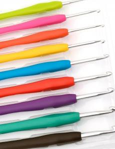 Крючки для вязания металлические с эргономичной ручкой 9 штук в наборе