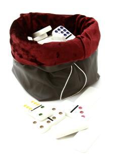Домино 9 цветных точек в сером кожаном мешочке