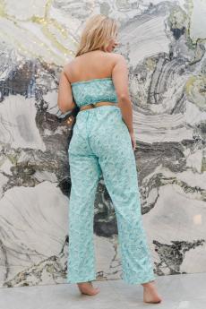 Пижама с брюками ПЖ 015 (Перышки на зеленом)