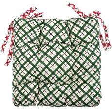 Сидушка на стул с завязками Новый год, рогожка, 100% хлопок, Клетка