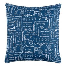 Декоративная подушка Правила кухни, рогожка, 100 % хлопок, Индиго