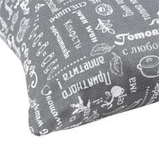 Декоративная подушка Правила кухни, рогожка, 100 % хлопок, Серый