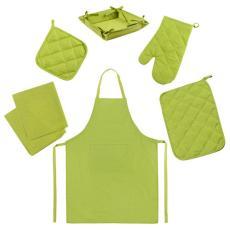 Набор для кухни Цвет Эмоций 7 предметов (прихватка-рукавичка, прихватка, текстильная ваза, подставка под горячее, фартук, полотенце вафельное - 2 шт), 100 % хлопок, Лайм