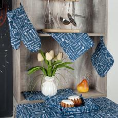 Набор для кухни Правила кухни 7 предметов (прихватка-рукавичка, прихватка, текстильная ваза, подставка под горячее, фартук, полотенце - 2 шт.), рогожка, 100 % хлопок, Индиго