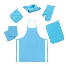 Набор для кухни Цвет Эмоций 7 предметов (прихватка-рукавичка, прихватка, текстильная ваза, подставка под горячее, фартук, полотенце вафельное - 2 шт), 100 % хлопок, Бриз