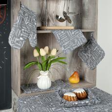 Набор для кухни Правила кухни 7 предметов (прихватка-рукавичка, прихватка, текстильная ваза, подставка под горячее, фартук, полотенце - 2 шт.), рогожка, 100 % хлопок, Серый