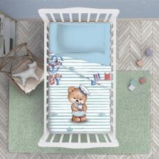 КПБ BabyRelax детский ясельный, перкаль, 100 % хлопок, пл. 105 гр./кв.м., Мишка морячок