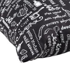 Декоративная подушка Правила кухни, рогожка, 100 % хлопок, Горький шоколад