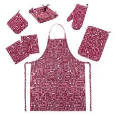 Набор для кухни Правила кухни 7 предметов (прихватка-рукавичка, прихватка, текстильная ваза, подставка под горячее, фартук, полотенце - 2 шт), рогожка, 100 % хлопок, Вишня