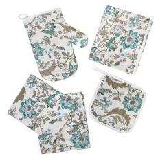 Набор для кухни Ассорти 5 предметов (рукавичка-прихватка, прихватка, фартук, полотенце - 2 шт.), рогожка, 100 % хлопок, Китайские цветы