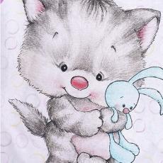 КПБ BabyRelax детский ясельный, перкаль, 100 % хлопок, пл. 105 гр./кв.м., Котенок с зайкой