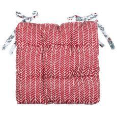 Сидушка на стул с завязками Новый год, рогожка, 100% хлопок, Ягодки