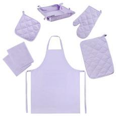 Набор для кухни Цвет Эмоций 7 предметов (прихватка-рукавичка, прихватка, текстильная ваза, подставка под горячее, фартук, полотенце вафельное - 2 шт), 100 % хлопок, Лаванда