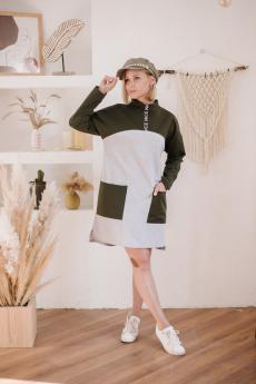 Платье П 784 (серый+хаки)