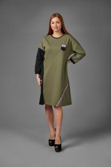 Платье П 776 (хаки+черный)