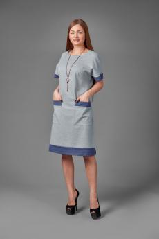 Платье П 775 (серый+меланж синий)