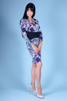 Платье П 283 (набивной + т.синий)