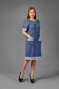 Платье П 775 (меланж синий+серый)