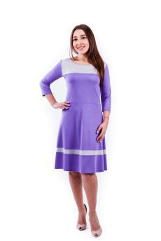 Платье П 564 (сиреневый + серый)