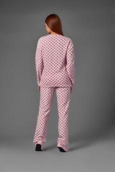 Домашний костюм К 100 (серый горох на розовом)
