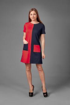 Платье П 774 (темно-синий+красный)