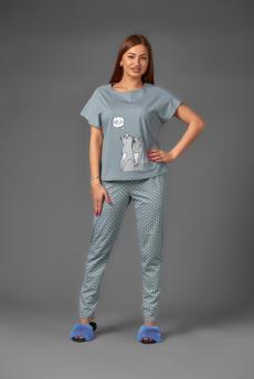Женская пижама ЖП 010/1 (серый с горохом)