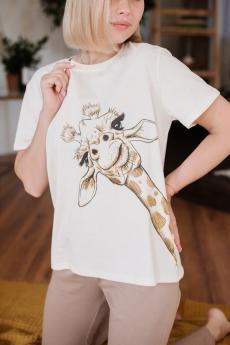 Женская пижама ЖП 024/6 (молочный+какао (жираф))