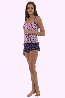 Комплект женский КТК-1020 розово-чёрный