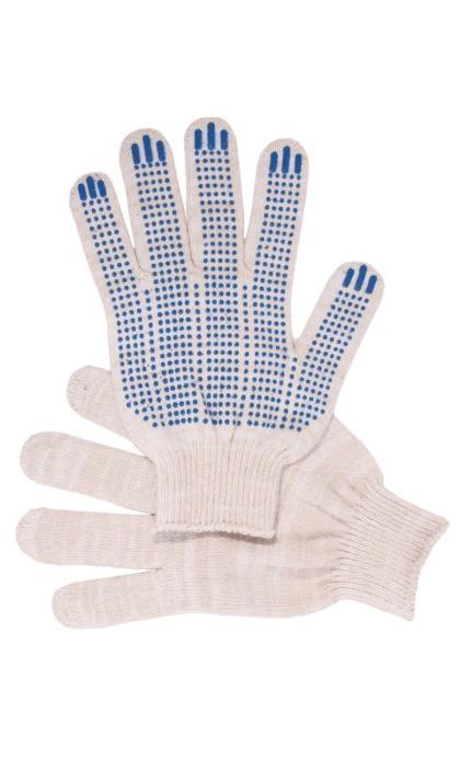 """Перчатки """"Рабочие"""" с ПВХ белые 4-х нитка (точка)"""