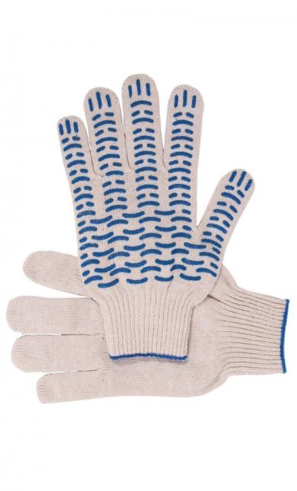 "Перчатки ""Рабочие"" с ПВХ белые 4-х нитка (волна)"