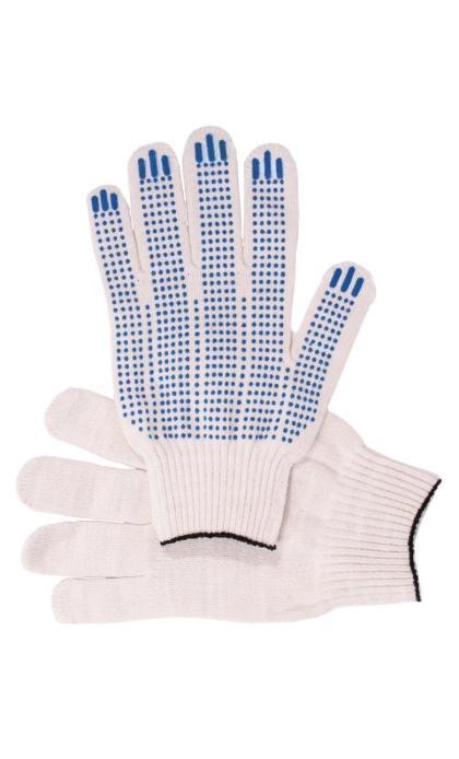 """Перчатки """"Рабочие"""" с ПВХ белые 5-и нитка (точка)"""