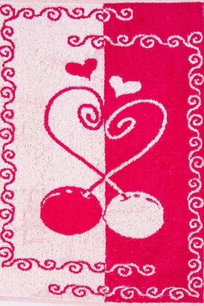"""Полотенце  """"Вишенки"""" розовое"""