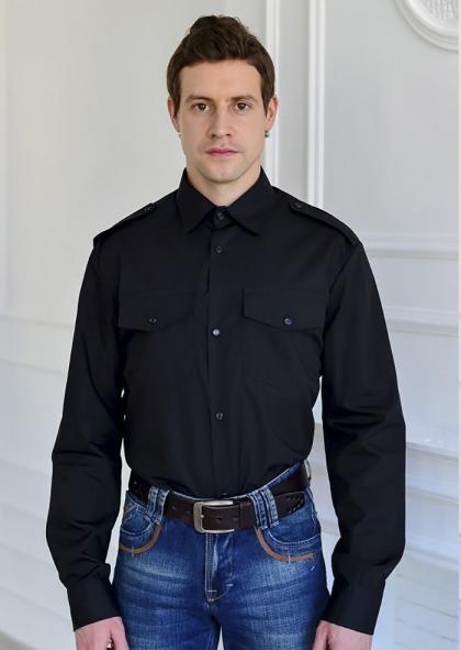 """Рубашка охранника """"Черная"""" длинный рукав"""