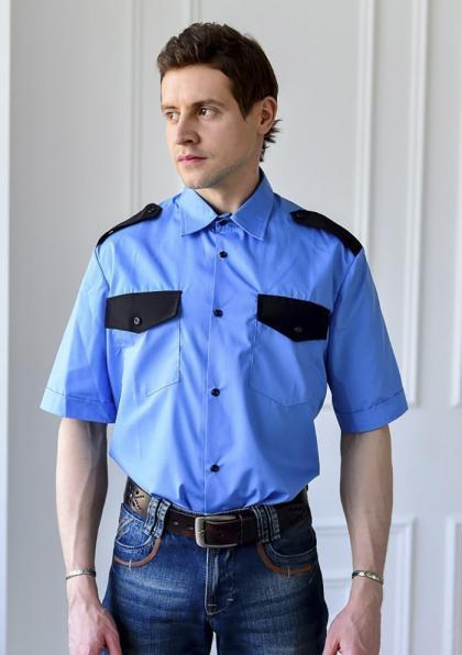 "Рубашка охранника  ""Голубая"" короткий рукав"