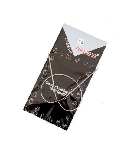 Спицы для вязания круговые, диаметр 3 мм, длина 40 см, металлическая леска