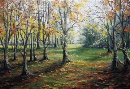 Купить картину по номерам на подрамнике «Осенняя роща»