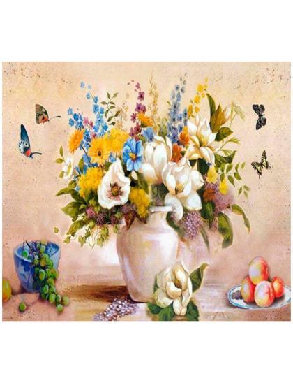 """Картина по номерам  на подрамнике """"Букет и бабочки"""""""