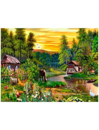 """Картина по номерам  на подрамнике """"Домик в деревне"""""""