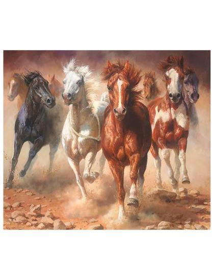 "Картина по номерам  на подрамнике ""Бегущие кони"""