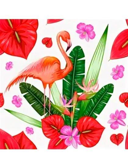 Алмазная мозаика «Фламинго и цветы»