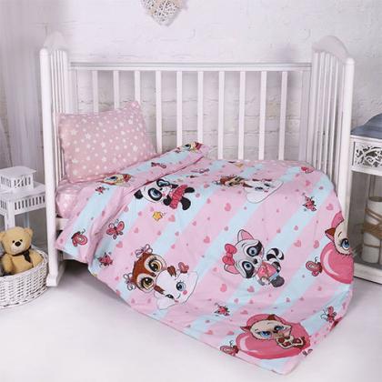 КПБ BabyRelax детский ясельный, перкаль, 100 % хлопок, пл. 105 гр./кв.м., Малыши девочки