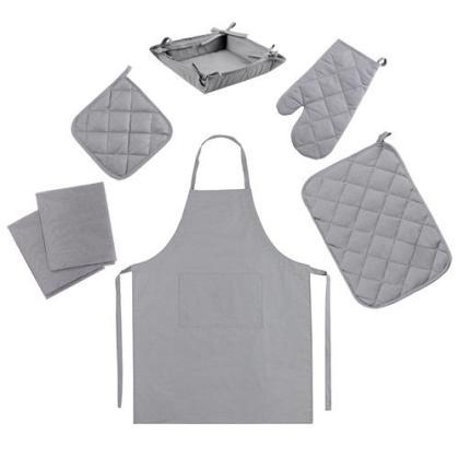 Набор для кухни Цвет Эмоций 7 предметов (прихватка-рукавичка, прихватка, текстильная ваза, подставка под горячее, фартук, полотенце вафельное - 2 шт.), 100 % хлопок, Грей